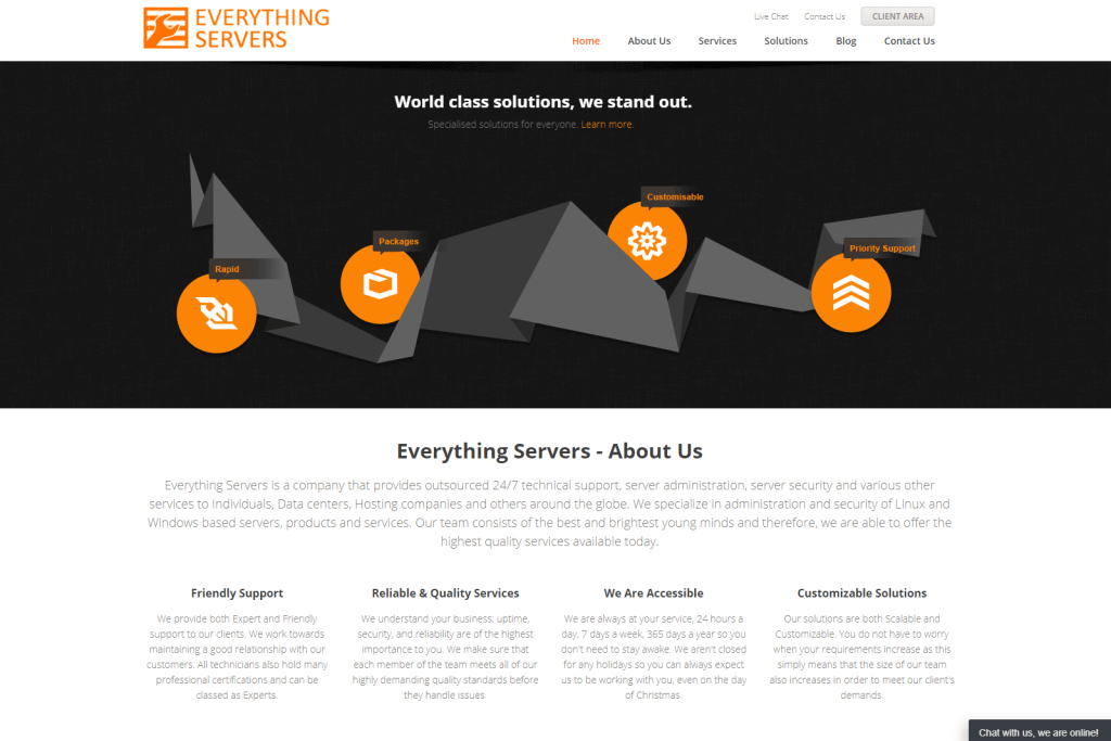 Everything Servers Website Portfolio